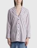 Ganni V Neck Stripe Cotton Poplin Shirt Picture