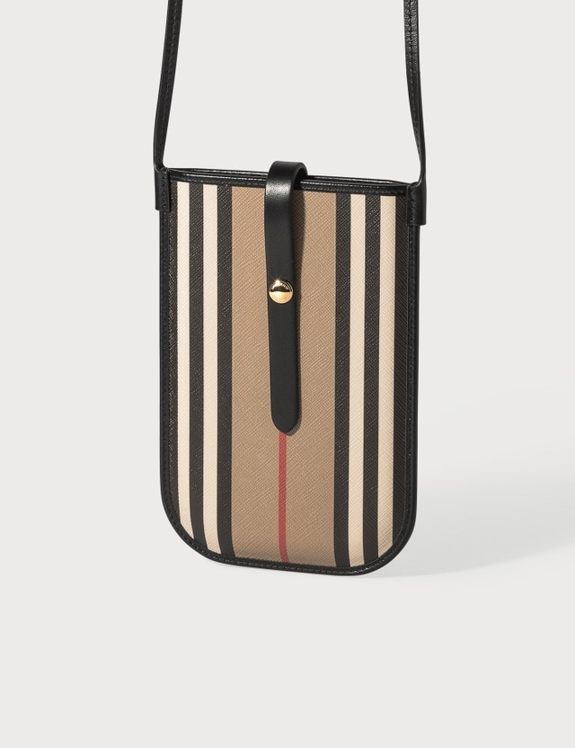 Burberry Icon Stripe E-canvas Phone Case with Strap