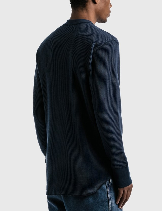Nanamica Crew Neck Thermal Long Sleeve T-shirt Navy N Men
