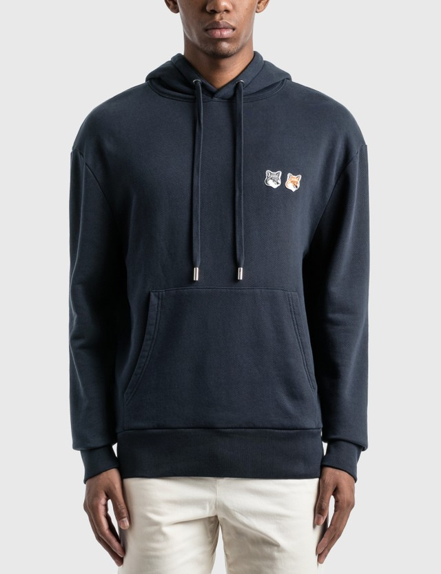 Maison Kitsune Double Fox Head Patch Hoodie Navy Men