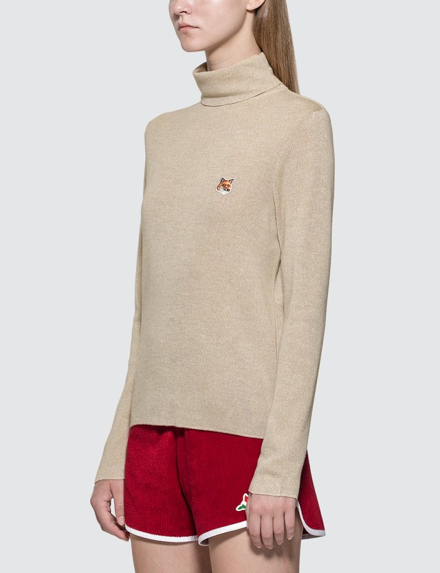 Maison Kitsune Turtleneck Fox Head Patch Sweater