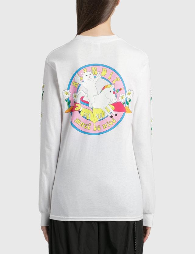 RIPNDIP Unicorn Rider Long Sleeve T-Shirt White Women