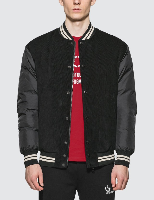 Moncler Down Bomber Jacket with Nylon Sleeves