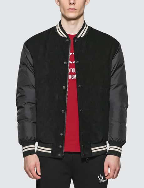 몽클레어 Moncler Down Bomber Jacket with Nylon Sleeves