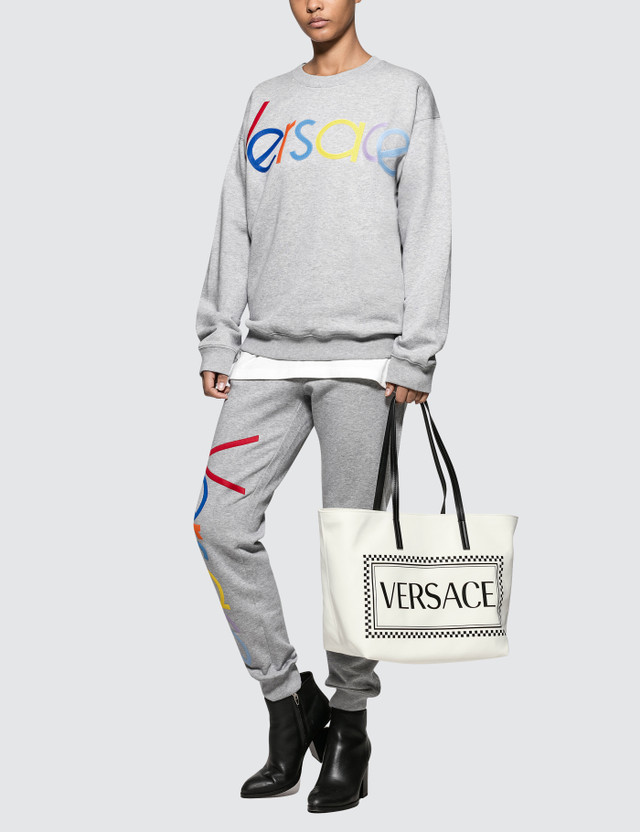 Versace Rainbow Color Logo Sweatpants Light Grey Women