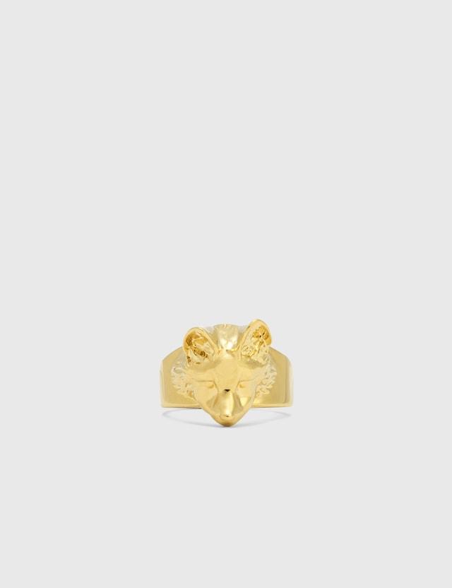 Maison Kitsune Fox Head Ring Gold Go Women