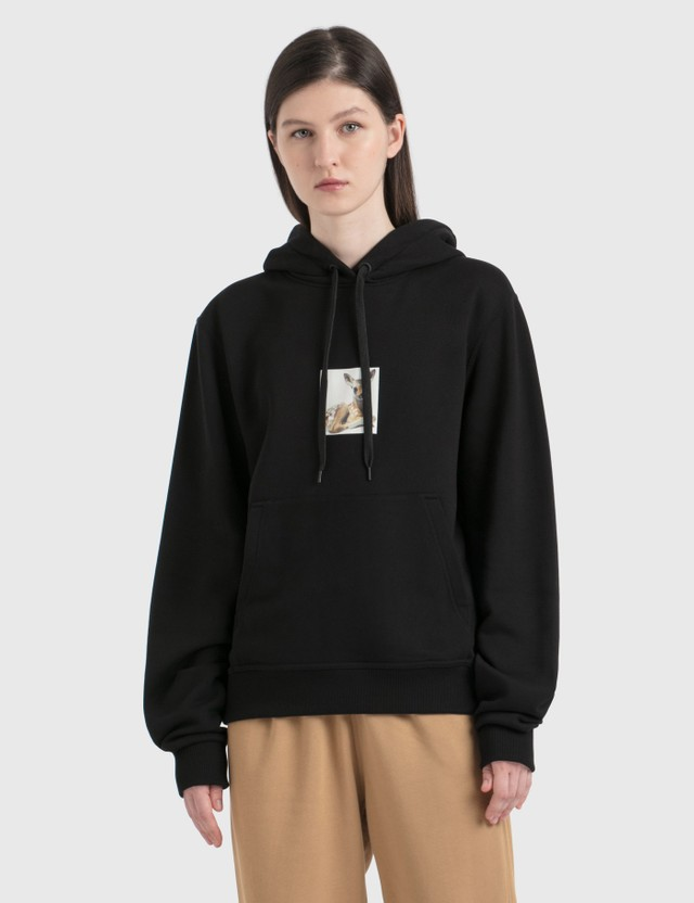 Burberry Deer Print Cotton Oversized Hoodie Black Women