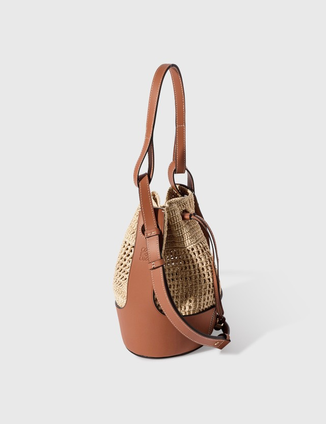 Loewe Small Balloon Bag In Raffia And Calfskin Natural/tan Women