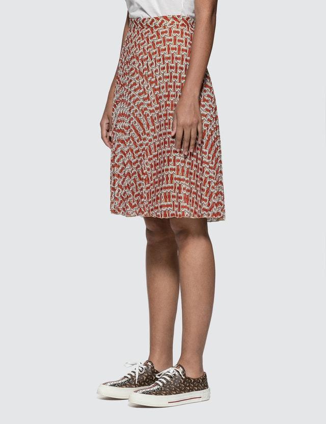 Burberry Monogram Print Chiffon Pleated Skirt Vermillion Red Ip Pt Women