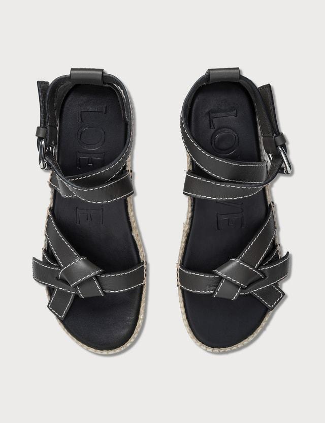 Loewe Gate Wedge Sandals Black Women