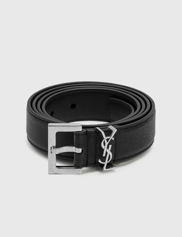 Saint Laurent Metal Logo Leather Belt