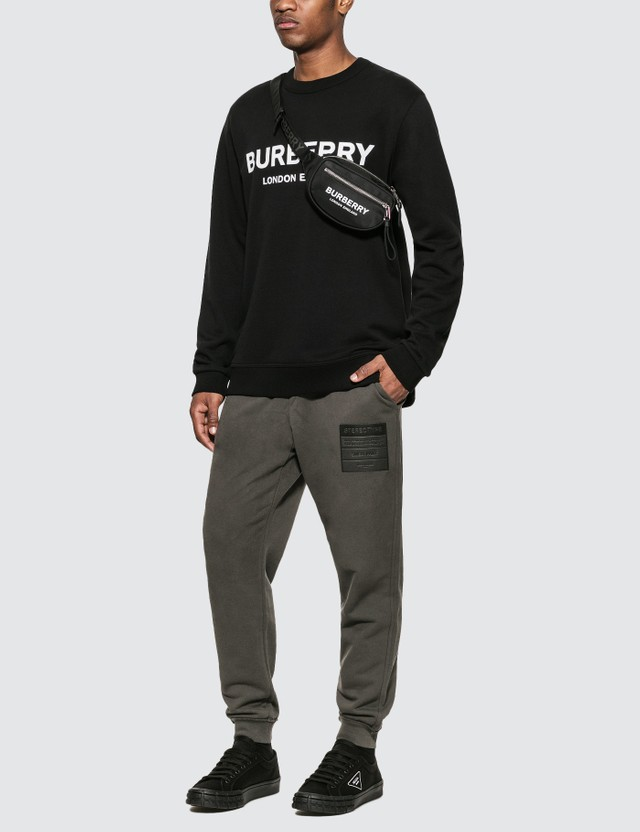 Burberry Logo Print Cotton Sweatshirt Black Men