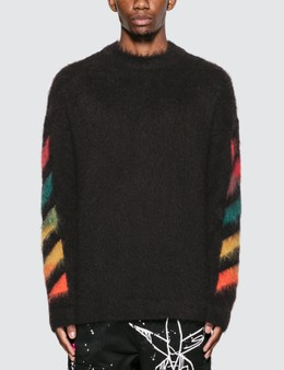 Off-White Diag Brushed Mohair Crewenck Sweater
