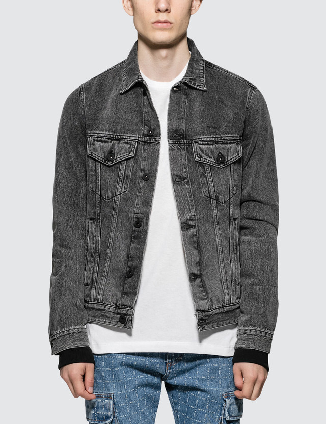Off-White Slim Denim Jacket with Fleece