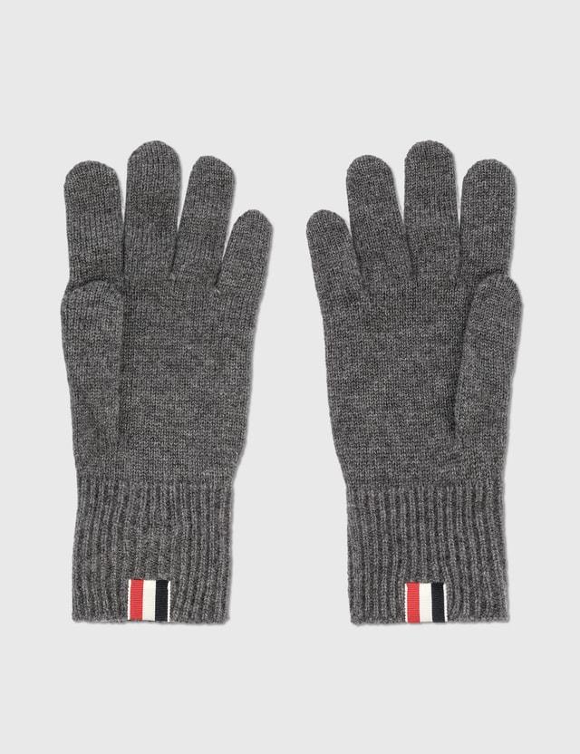 Thom Browne Jersey Stitch Gloves Med Grey Men