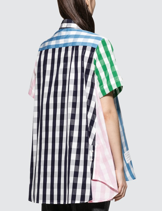 Thom Browne S/s Thigh Length Oversized Circle Shirtdress In Funmix Gingham Check Poplin