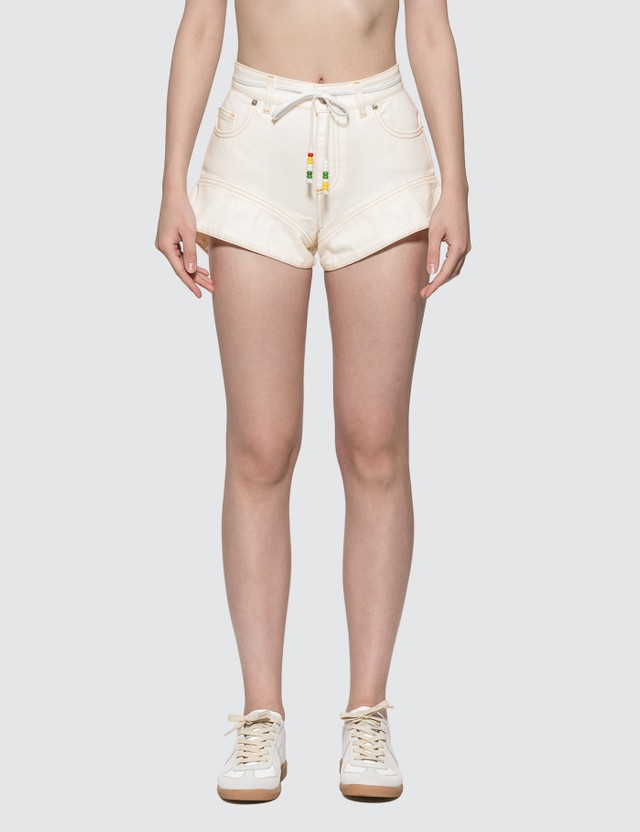 JW Anderson Flared Cuff Denim Shorts Off White Women