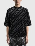 Mastermind World Velour Diagonal Boxy T-shirt Black X Charcoal Men