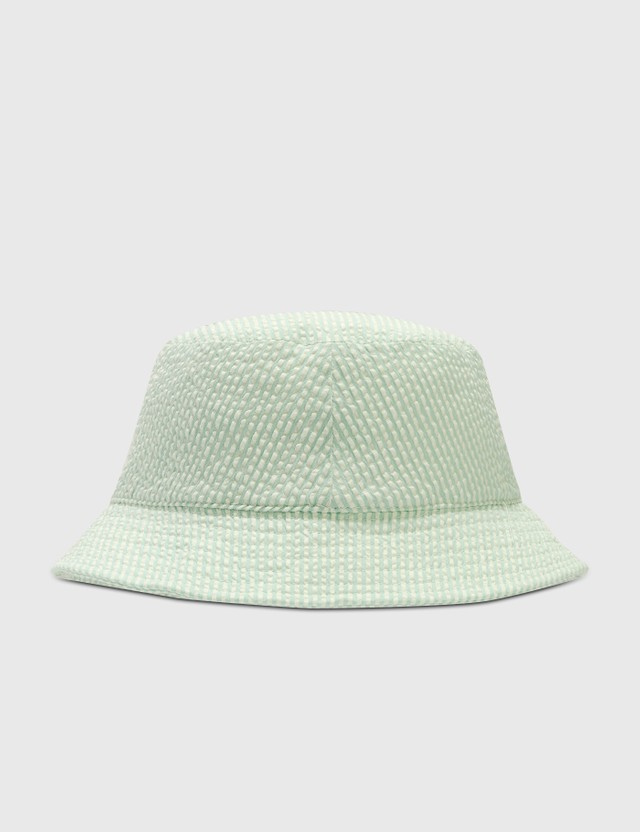 Maison Kitsune Chillax Fox Bucket Hat Green Stripe Gns Women