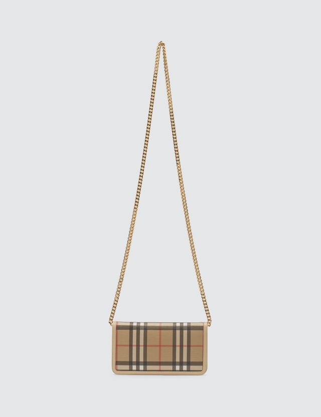 Burberry Vintage Check E-canvas Phone Wallet with Strap