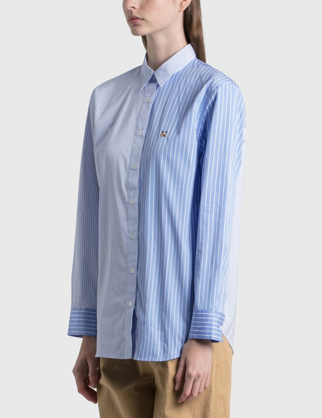 Maison Kitsune Fox Head Embroidery Classic Shirt Blue Stripe Bls Women