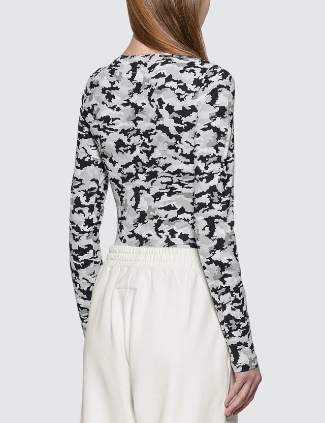MM6 Maison Margiela Printed Camouflage Bodysuit White/grey/black Camouflage Women