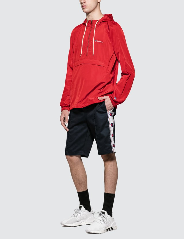 Champion Reverse Weave Hooded Half Zip Jacket Red Men