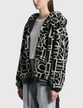 Moncler All Over Graphic Moncler Shearling Zip 재킷 Black Women