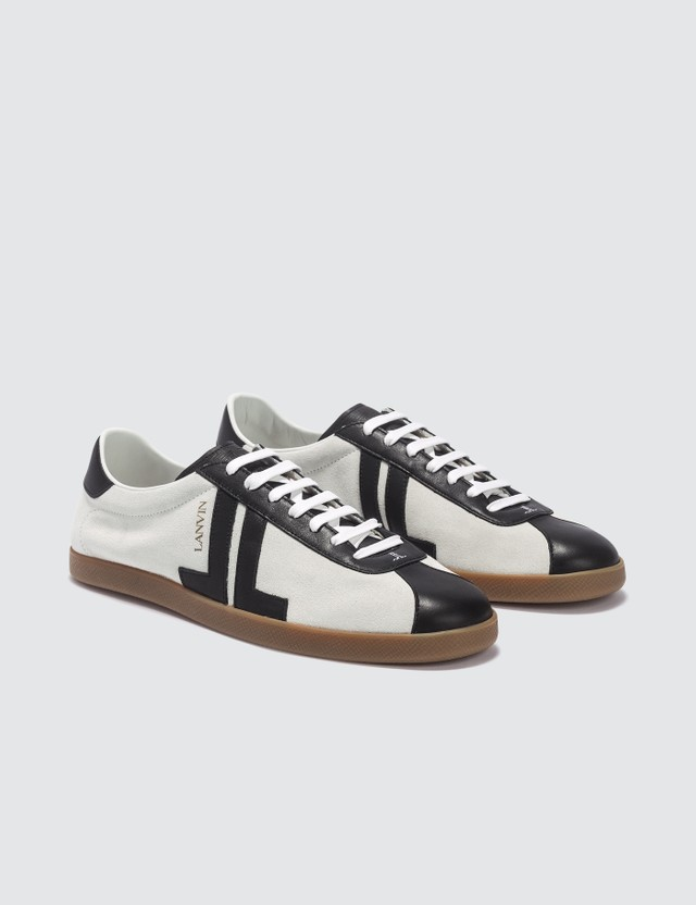 Lanvin JL Low Top Sneaker In Nappa And Suede
