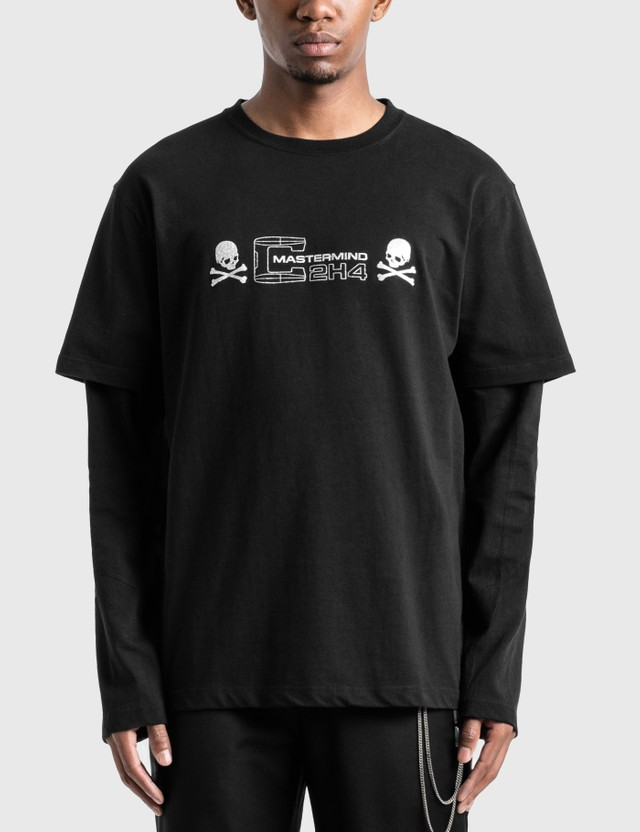 C2H4 Los Angeles C2H4® x Mastermind Japan Double Layer Long Sleeve T-Shirt Black Men