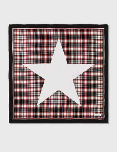 버버리 Burberry Star Motif Check Print Silk Square Scarf