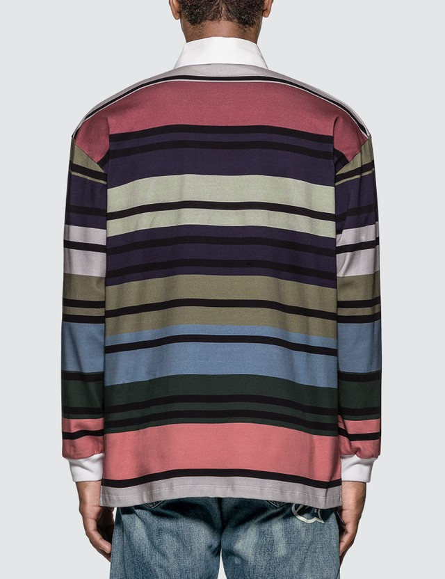 JW Anderson Striped Rugby Jersey Long Sleeve Polo Shirt Green Men