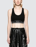 Alexander Wang Compact Rib Cutout Crop Top With T Logo Elastic Picture