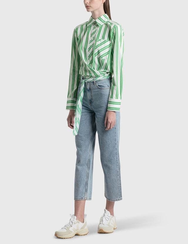 Ganni Stripe Cotton Wrap Shirt Kelly Green Women