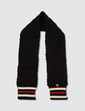 Thom Browne British Wool Pocket Scarf with Chevron Cable and RWB Cricket Stripe Picutre