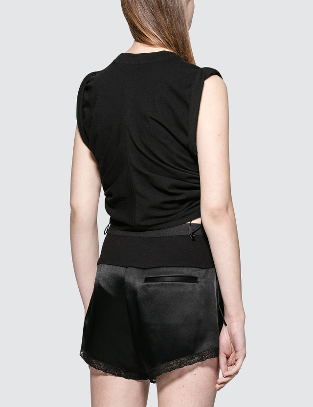 Alexander Wang.T High Twist Jersey Crop Top With Wide Ties