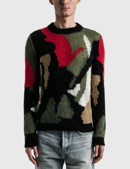 Saint Laurent Camo Print Wool And Mohair Blend Sweater