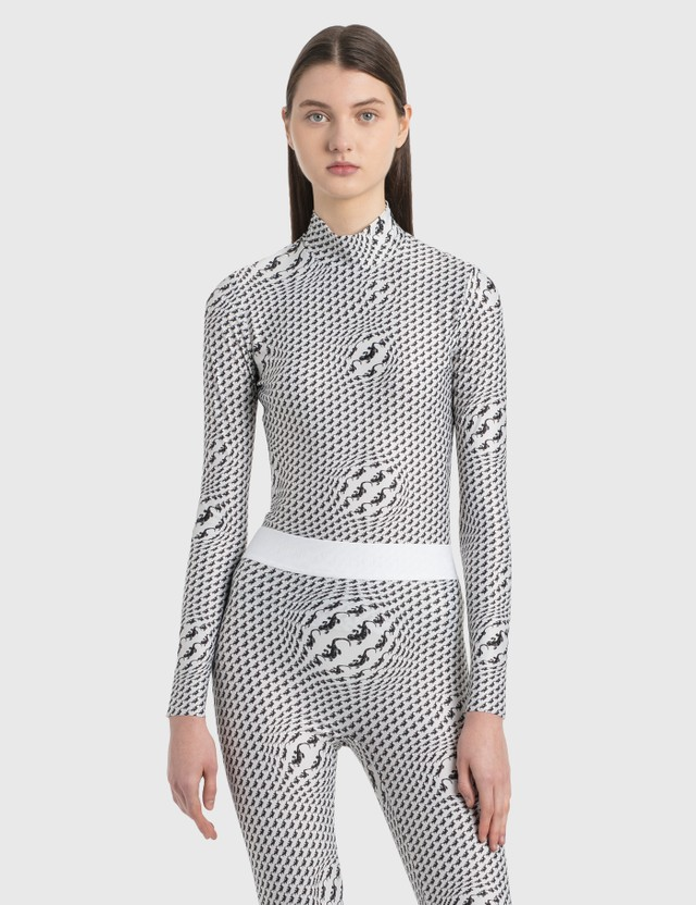 Marine Serre Printed Turtleneck Top 1 White With Print Women