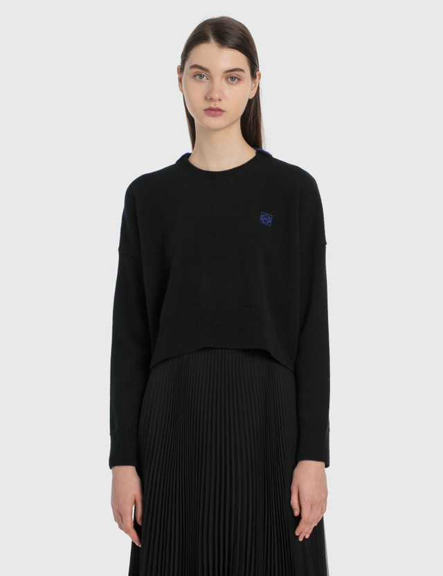 Loewe Anagram Embroidered Cropped Sweater Black Women