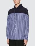 Sacai Striped Cotton Shirt Hoodie
