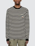 Carhartt Work In Progress 스카티 포켓 긴팔 티셔츠 Scotty Stripe, Black / Wax Men