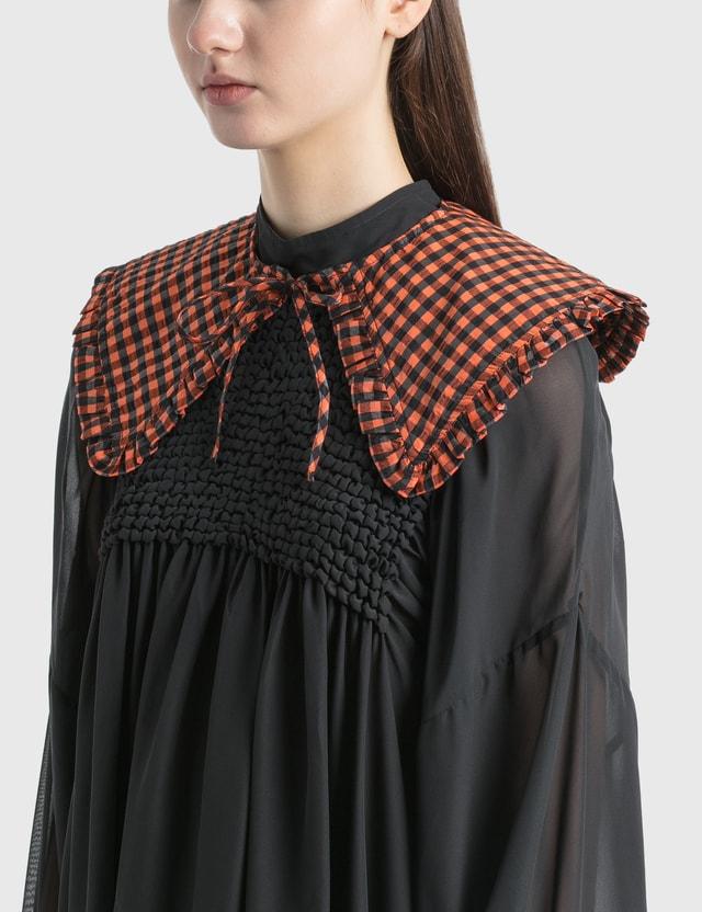 Ganni Seersucker Check Collar Flame Women