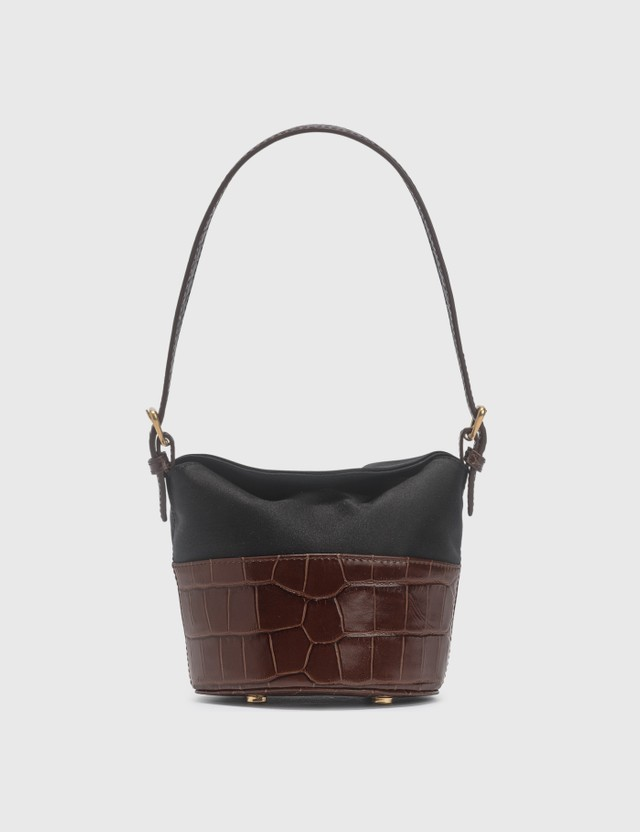BY FAR Mini Jamie Nutella Croco Embossed Leather And Black Silk Top Handle Bag Nutella Women