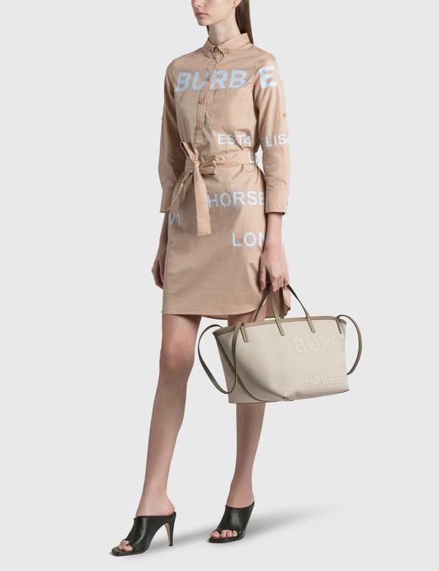 Burberry Extra Large Embossed Logo Cotton Canvas Beach Tote Ecru Women