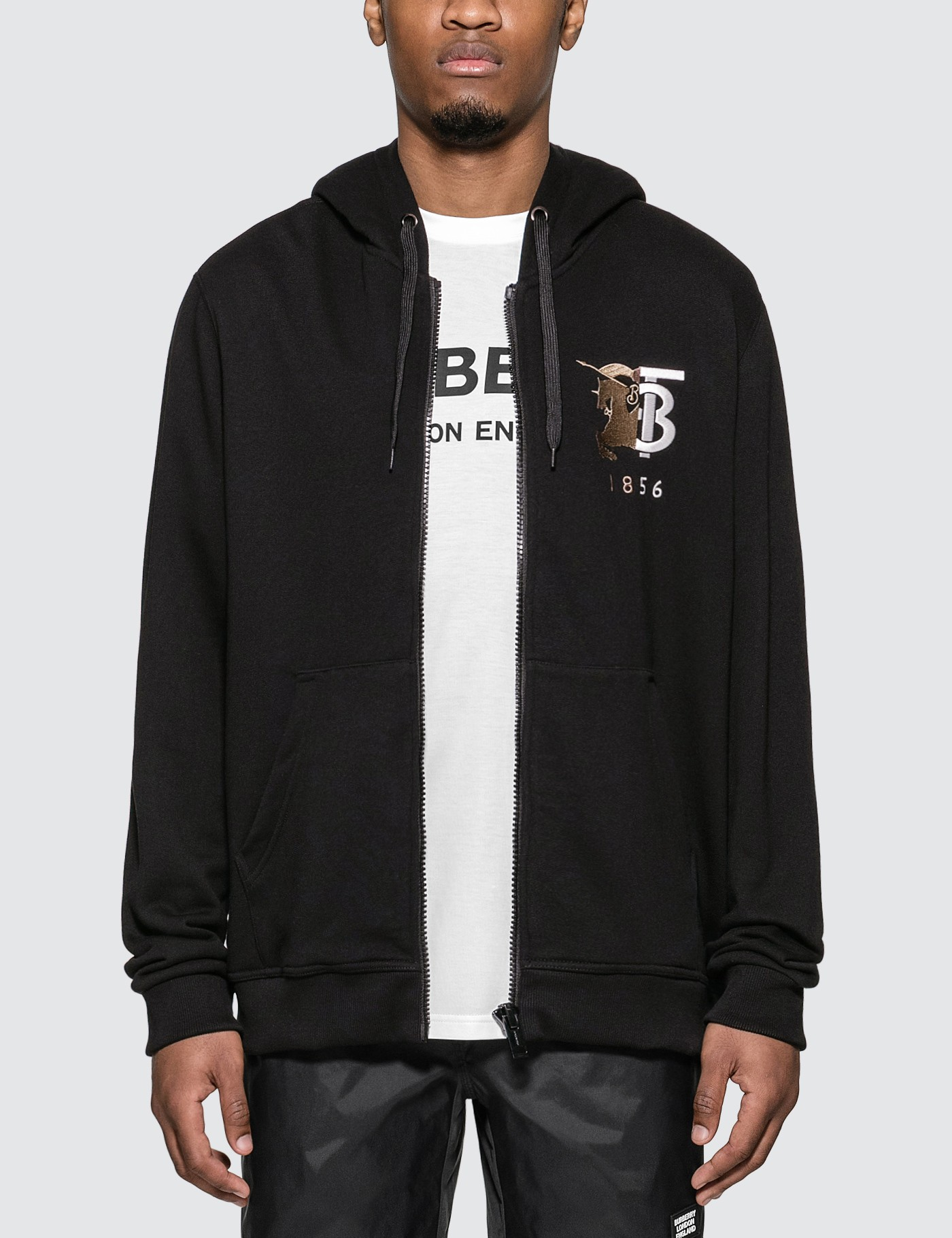 Contrast Logo Graphic Cotton Hooded Jacket