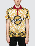 Versace Allover Feather Print Polo Picutre