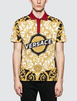 Versace Allover Feather Print Polo