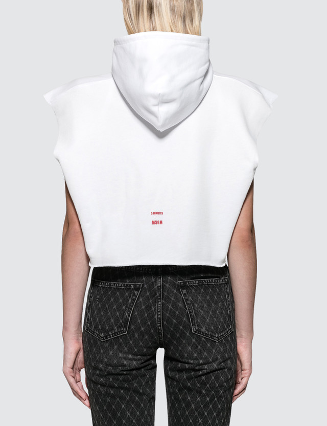 MSGM Chromotherapy Crop Hoodie White Women