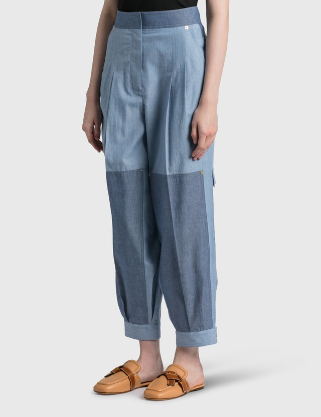 Loewe Cropped Chambray Balloon Trousers Blue Women