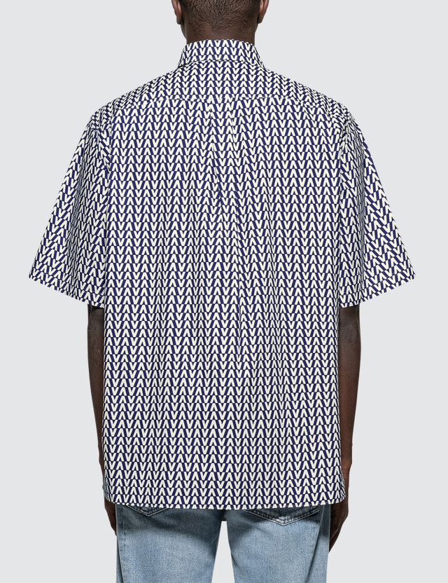 Valentino Oversized Optical Polo Collar Cotton Shirt